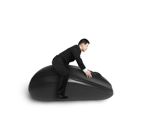 Riding on computer mouse isolated in white
