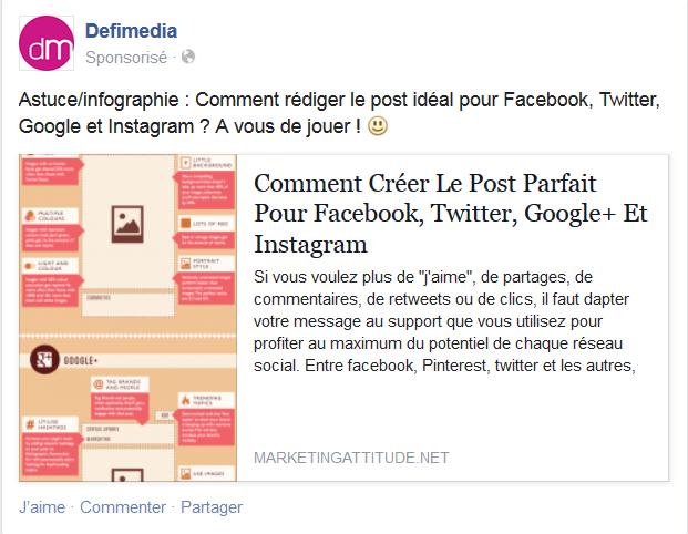 publicité facebook publication page