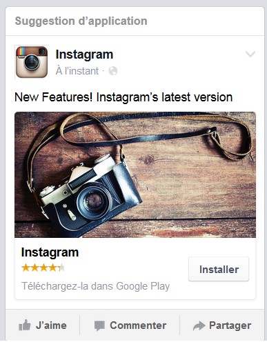 Publicité facebook installation application