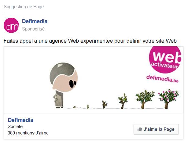 publicité facebook aimer une page