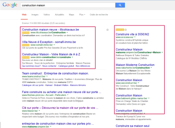 Affichage Google Adwords