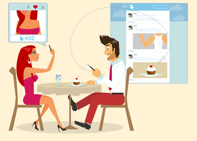 Man and woman are sitting in a cafe and taking a photo of a cake for social networking. Contains EPS10 and high-resolution JPEG